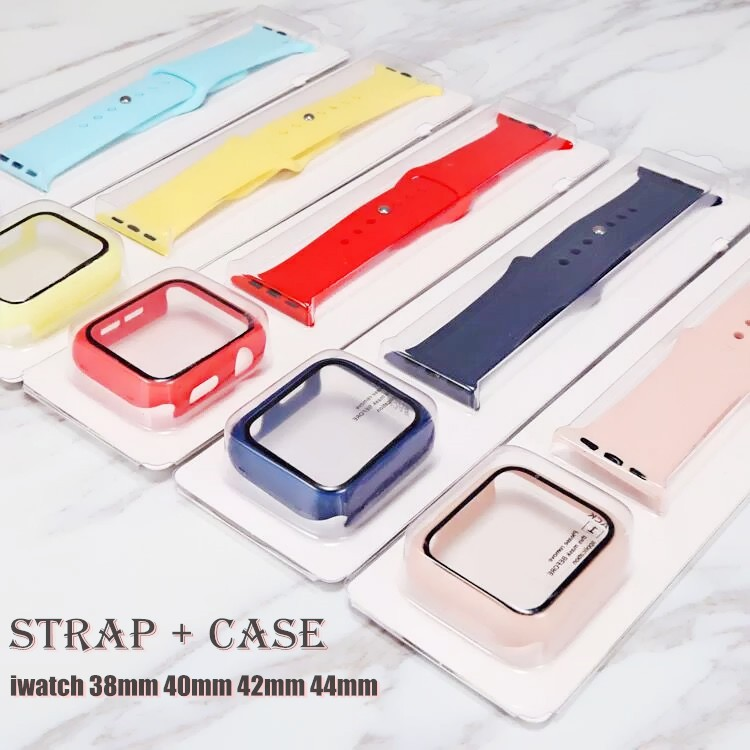 Glass + Case + strap for Apple Watch Band 44mm 40mm I-Watch Band 42mm 38mm Silicone Belt Bumper+bracelet Apple Watch Ser