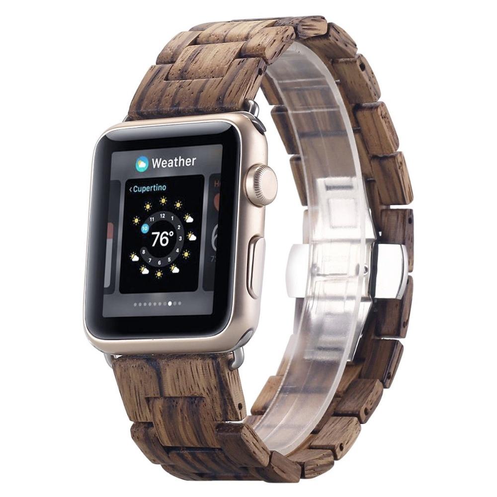 สายคล้องนาฬิกาข้อมือไม้ไผ่สําหรับ Apple Watch Strap 38mm 40mm 42mm 44mm สําหรับ Iwatch Band Wood Series 2 3 4 5