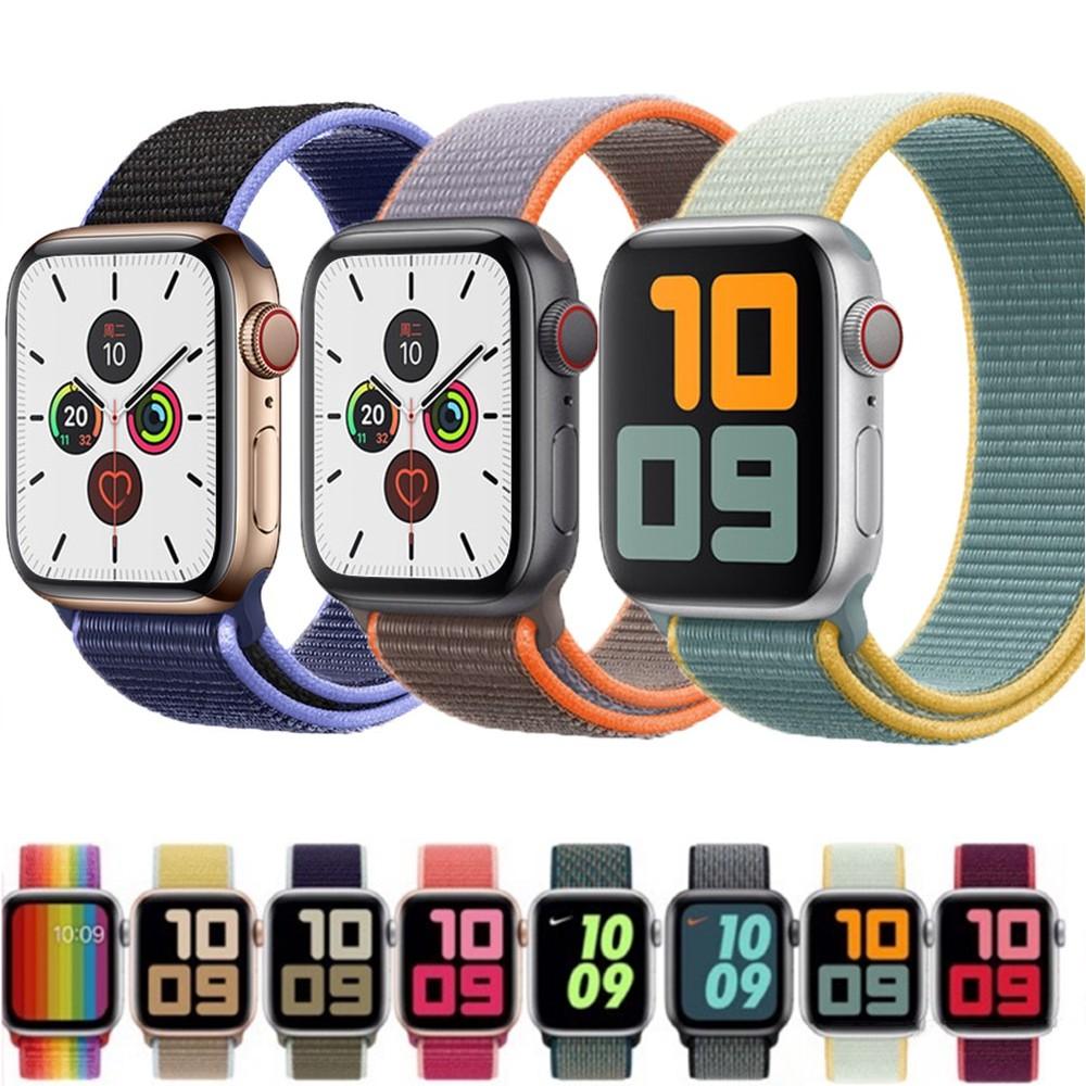 สาย applewatch เหมาะสำหรับ apple watch series 4 5 3 2 1สายรัดไนลอนทดแทนที่ระบายอากาศได้