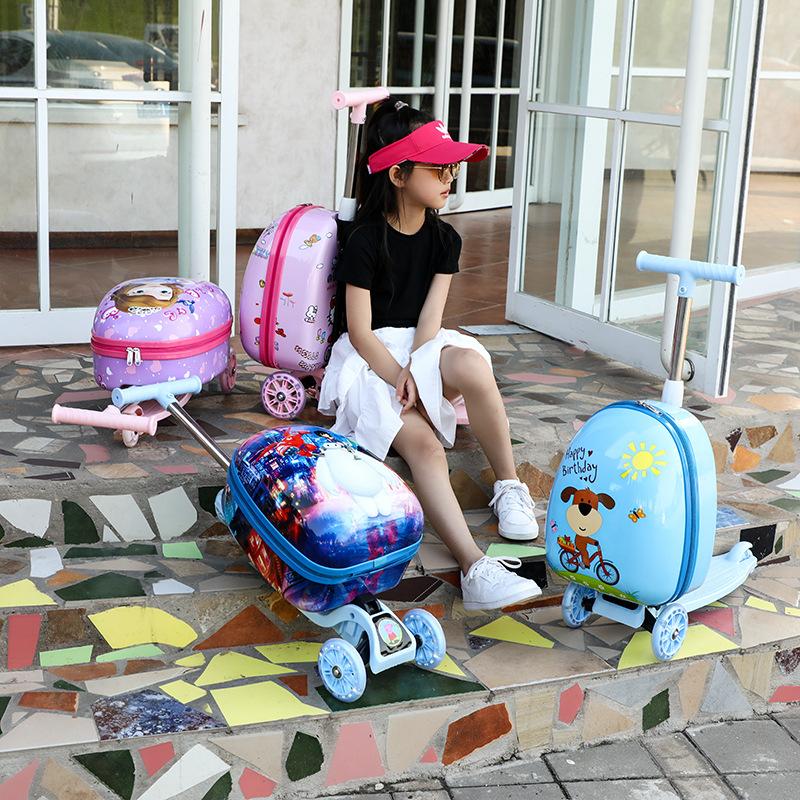 —♨กระเป๋าเดินทางเด็ก  กล่องเดินทางเด็กรถเข็นกระเป๋าสกู๊ตเตอร์สาวการ์ตูนกระเป๋าเด็กสามารถเมาเจ้าหญิงกระเป๋าเดินทางเด็กจัก