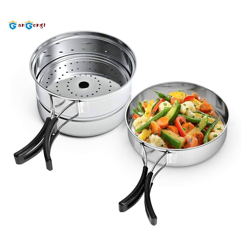 Stainless Steel Outdoor Cooking Kettle Camping Pot Backpack Cooker Set Picnic Multi-Functional Lunch Box Outdoor Lunch Box