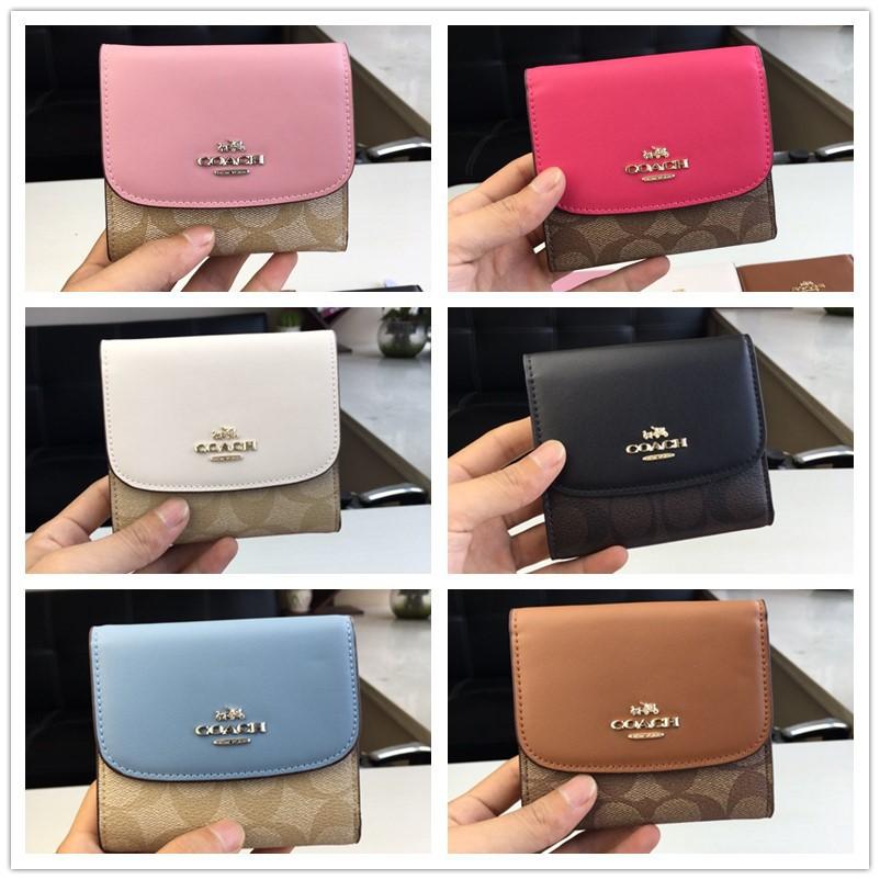 แท้💯%🔥พรกระเป๋าสตางค์ Coach F87589 กระเป๋าสตางค์ผู้หญิง / กระเป๋าสตางค์ใบสั้น / กระเป๋าสตางค์หนัง / กระเป๋าสตางค์ บัตร