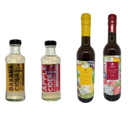 Set Banana Vinegar RTD / Apple Cider Vinegar RTD / Banana Vinegar with Honey Blended / Apple Cider Vinegar with Hon