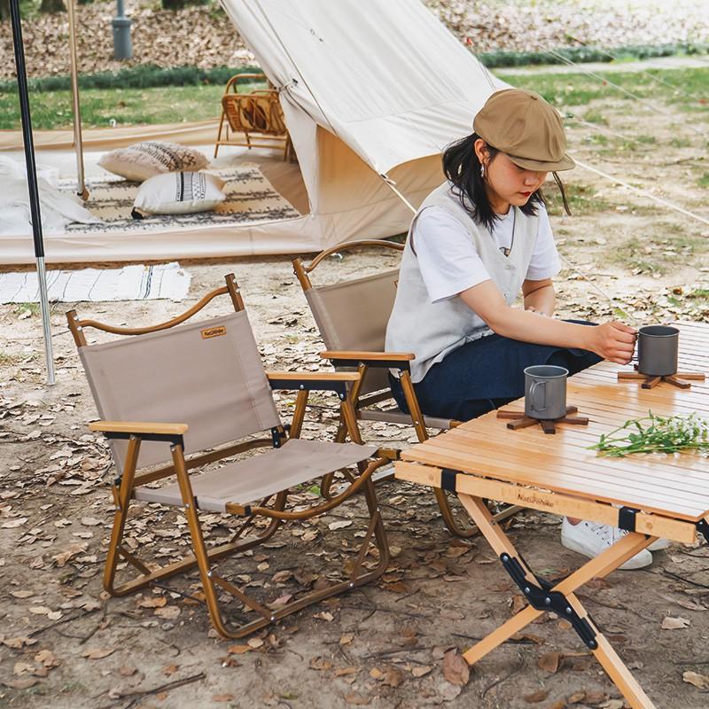 Кπเก้าอี้พับเก้าอี้สนามได้ เก้าอี้สนามพกพา Foldable Camping Chairเก้าอี้สนามพับNaturehike Outdoor Kermit อลูมิเนียมลายไม