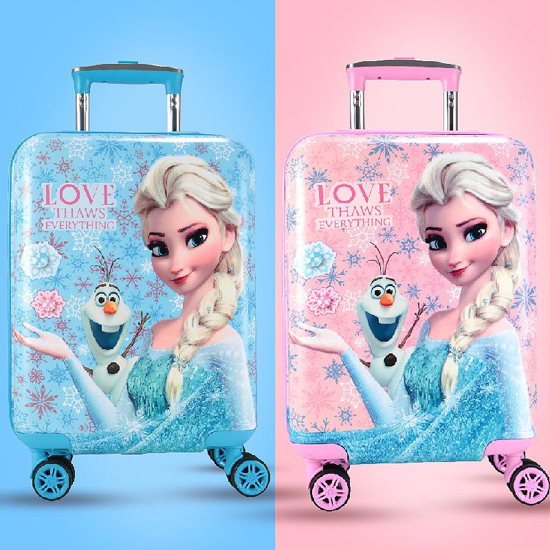 ☣ˉ กระเป๋าเดินทางเด็ก  กล่องเดินทางดิสนีย์เด็กรถเข็นกระเป๋าหญิงเจ้าหญิง16นิ้วเด็กการ์ตูนกระเป๋าเดินทาง18นิ้วกระเป๋าล้อสา