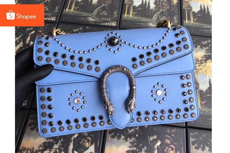 [กระเป่า]Gucci Dionysus Studded กระเป๋าสะพายไหล่ 400249 Blue กระเป๋าถือคุณภาพดี