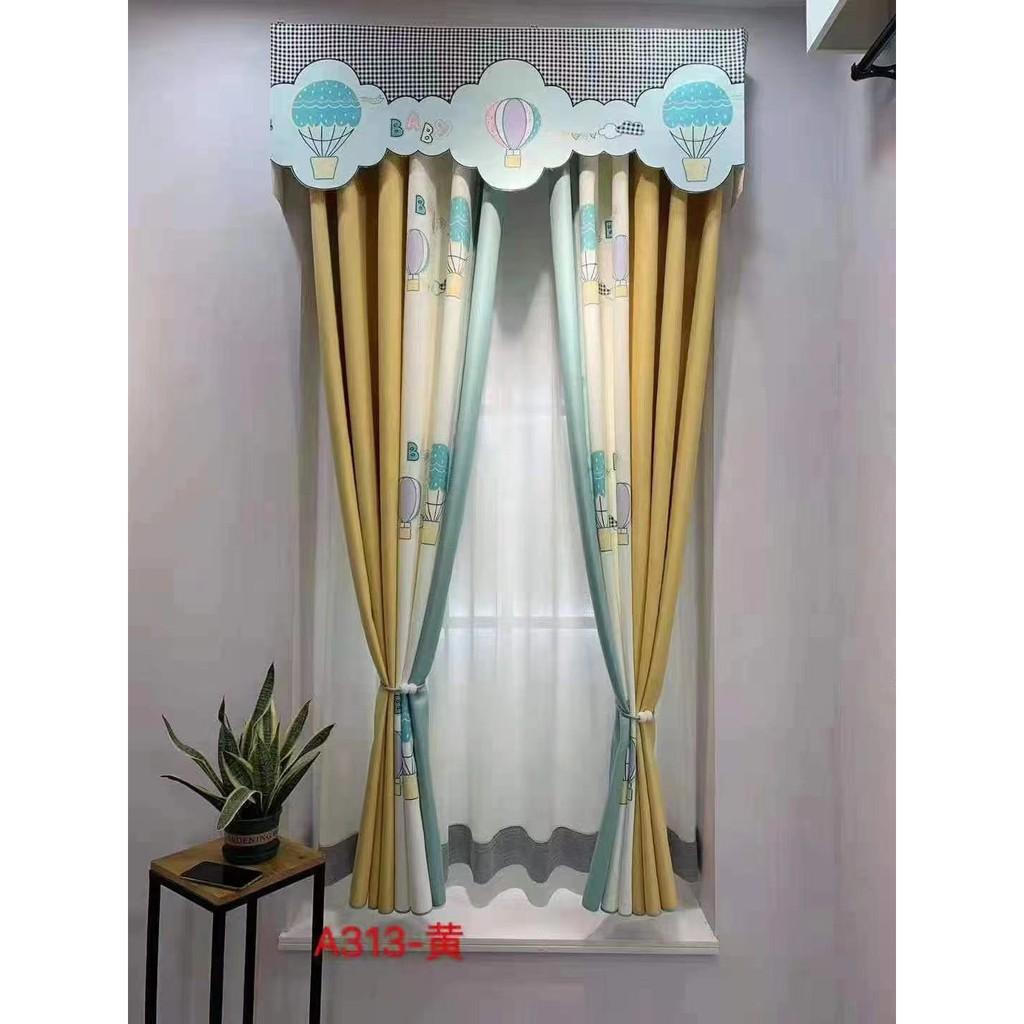 🔥 Curtains ผ้าม่านห้องเด็กที่ทันสมัยเรียบง่ายห้องนอนอ่าวหน้าต่างแรเงาตะขอเจาะผลิตภัณฑ์สำเร็จรูปการ์ตูนเป็นมิตรกับสิ่งแวด