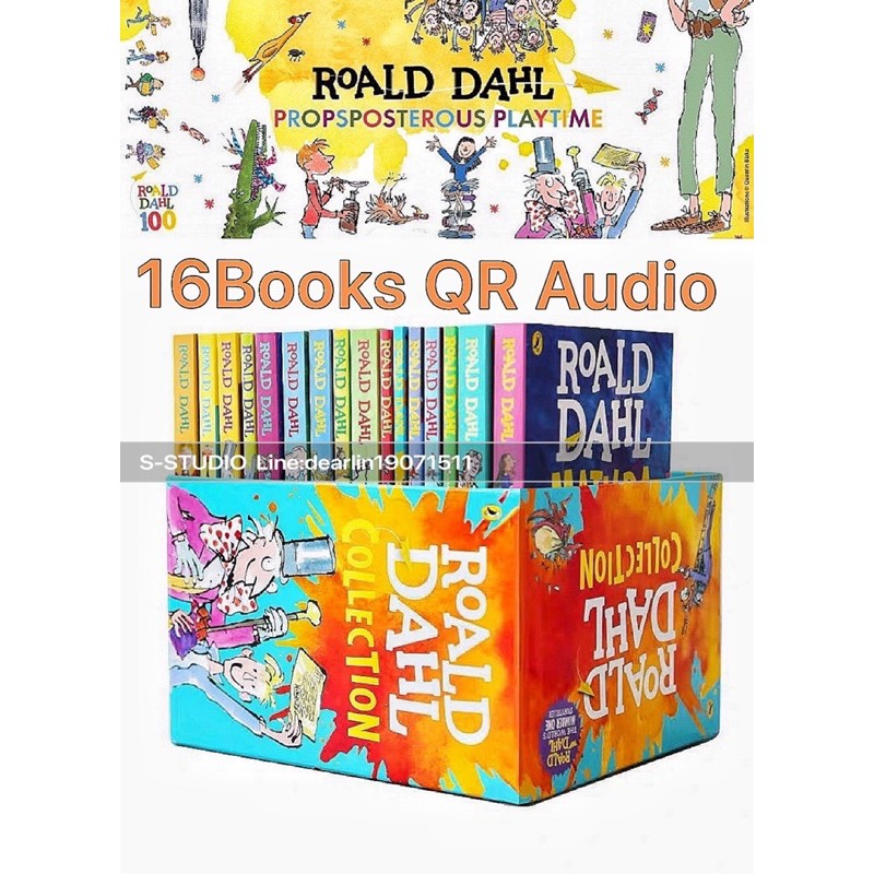 Roald Dahl 16ชุด+QR audio 16books box set Collection 16 Books Set Phizz Wizzing Collection Book