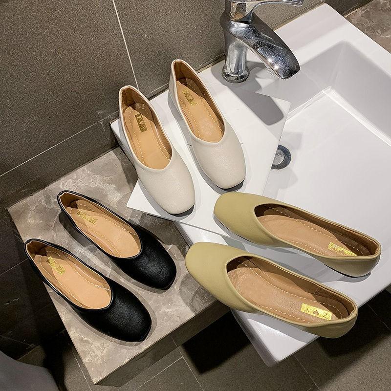 รองเท้าคัชชู รองเท้าส้นแบนผู้หญิงรองเท้าหนังกลับรองเท้าทำงานสีดำใหม่ที่เรียบง่าย