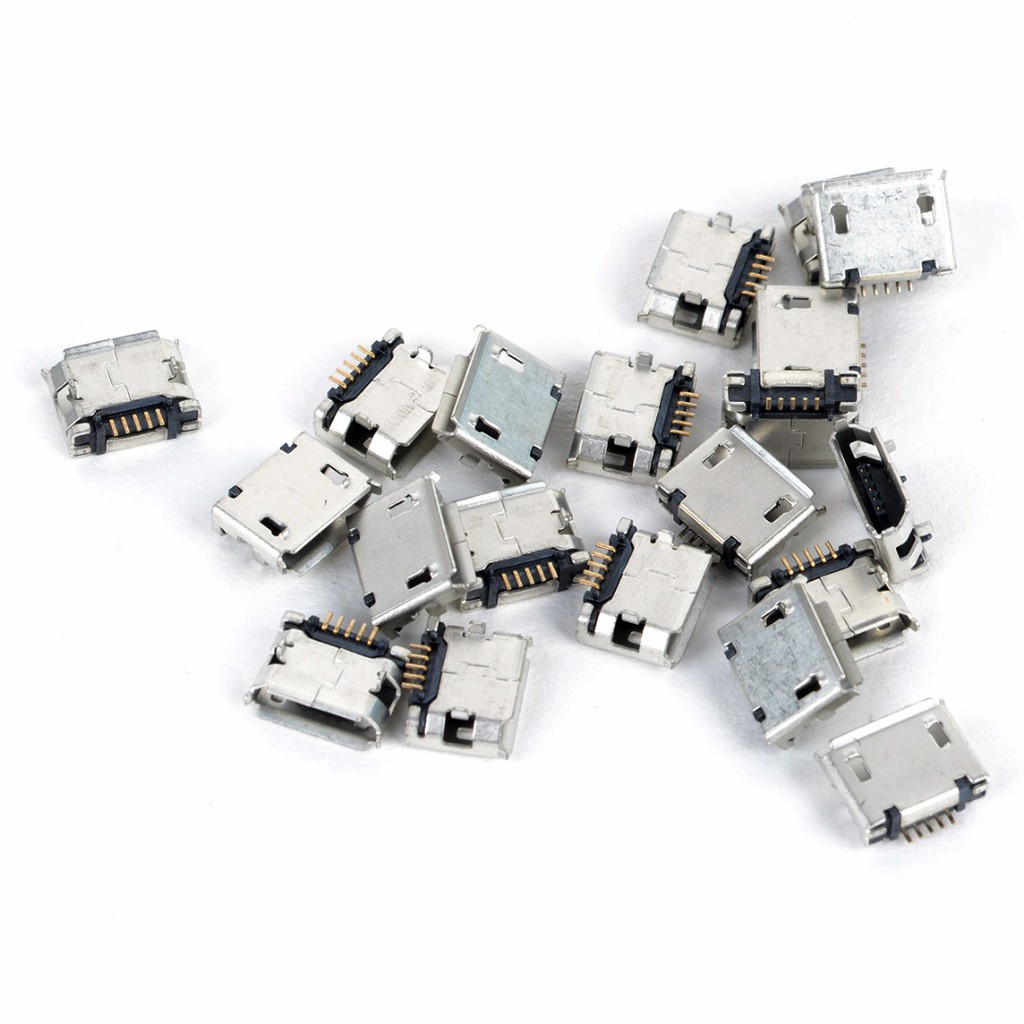 20 x Pcs Silver Micro USB Female 5 pin SMT Placement SMD DIP Socket Connector