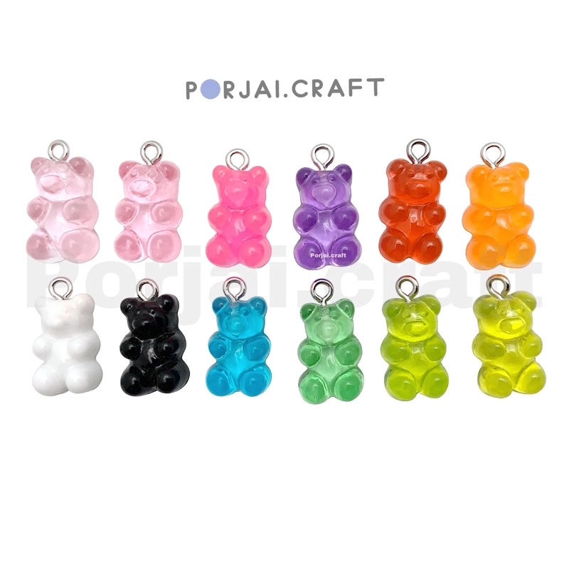 ลูกปัดหมี จี้หมี เจลลี่แบร์ Jelly Bear Pendant Beads ขั้นต่ำ10ชิ้น.