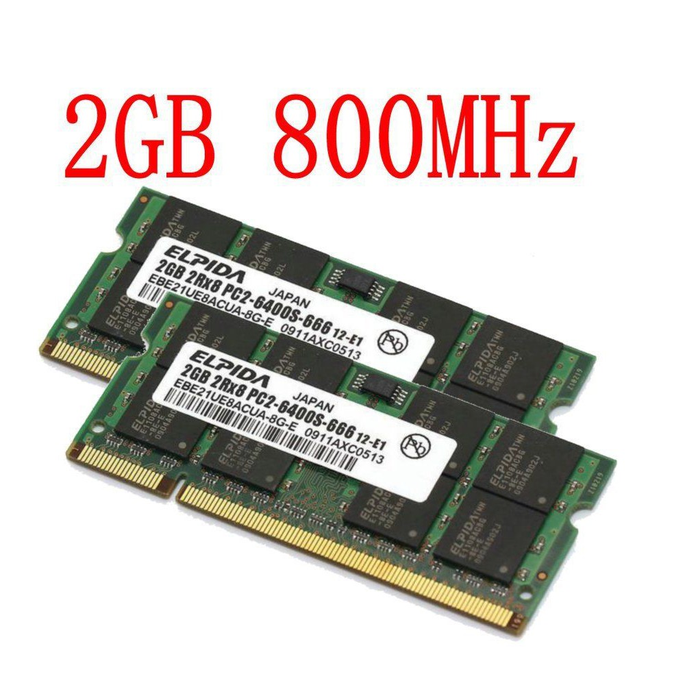 4GB NANYA 2PCS 2GB 2RX8 DDR2 800MHz PC2-6400S 200PIN SO-DIMM Laptop RAM Memory #