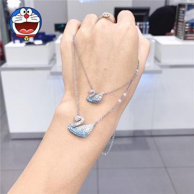 ㇵ・สร้อยคอ Swarovski จี้คริสตัลสีน้ำเงินไล่ระดับสีฟ้าหงส์สาวไหปลาร้าโซ่ของขวัญวันวาเลนไทน์จีน