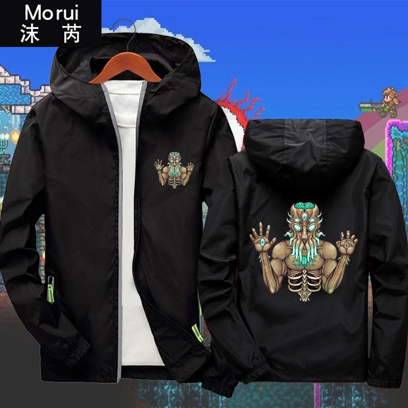 ผู้ชายเสื้ออบไอน้ำ Terraria อนุพันธ์เสื้อผ้า tailaria คลุมด้วยผ้าแจ็คเก็ตผู้ชายเกมเสื้อเสื้อกันหนาวหมวก