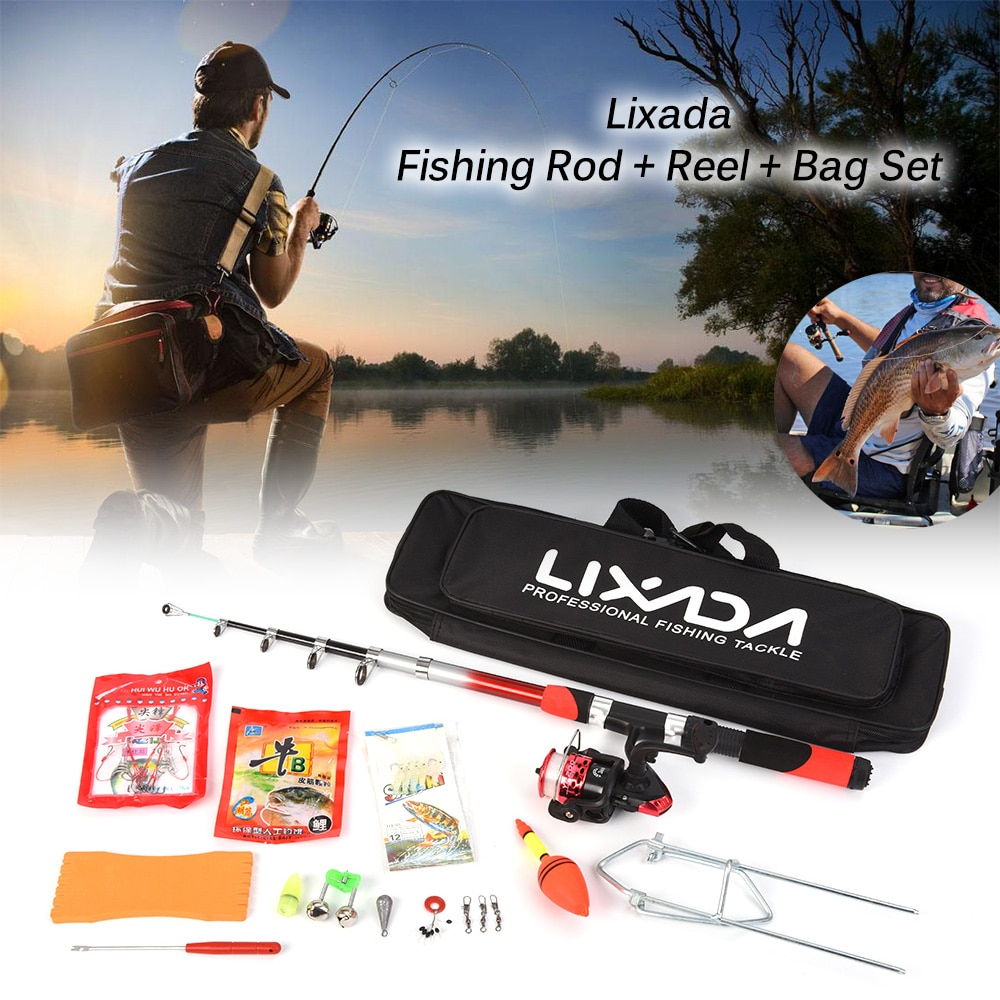 2.1m Fishing Rod Reel Combo Spinning Reel Set with Fishing Line Lures Hooks