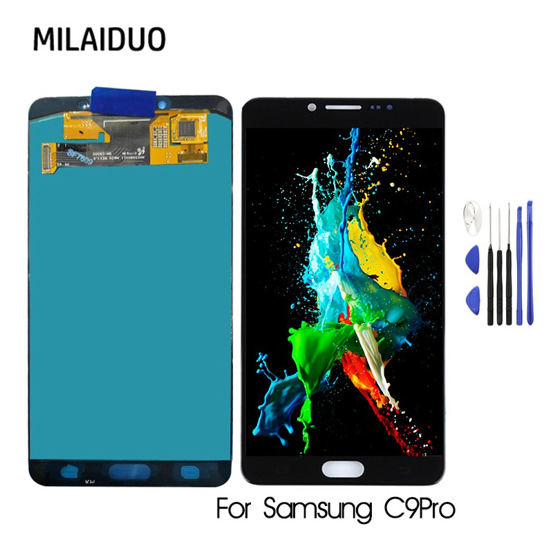 Milaiduo☆Super AMOLED For SAMSUNG GALAXY C9 Pro C9000 C9 หน้าจอ LCD  จอแสดงผลแบบสัมผัส Digitizer Repair Fullset For C9pro