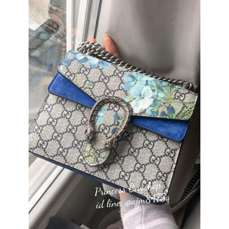 Gucci Dionysus 8นิ้ว ลายดอกสีฟ้า Hi-end (ครบกล่อง)