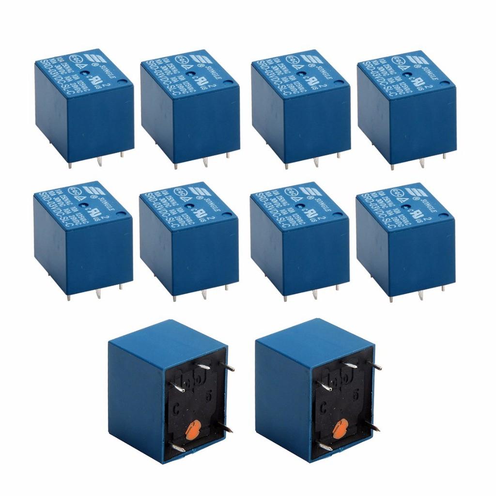 10pcs Mini 3V DC SONGLE Power Relay SRD-3VDC-SL-C PCB Type