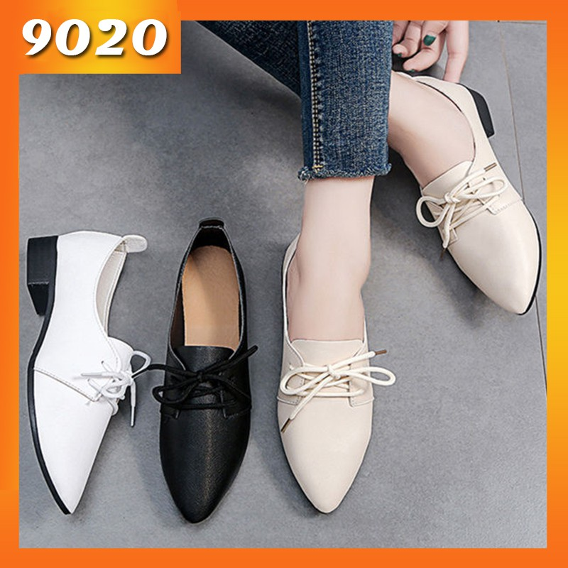 รองเท้าคัชชู พื้นหนา หัวแหลม แต่งเชือก สำหรับผู้หญิง