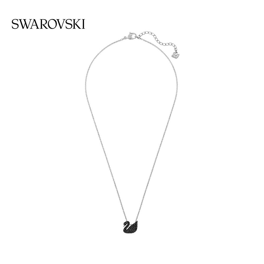 Swarovski สร้อยคอจี้หงส์ดําขนาดเล็กสําหรับผู้หญิง