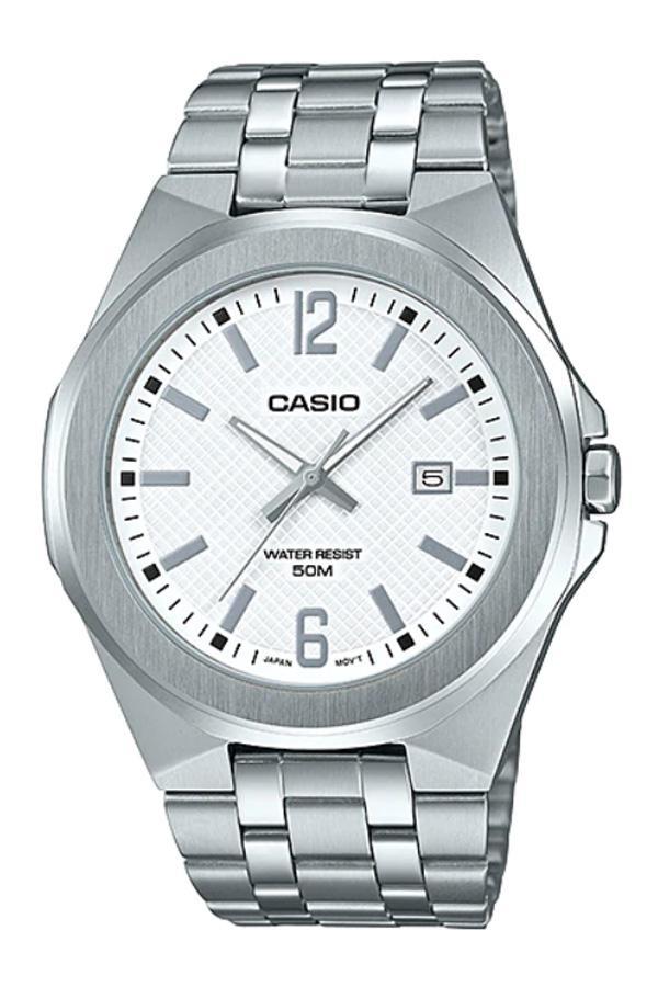 Casio Standard นาฬิกาข้อมือผู้ชาย สายสแตนเลส รุ่น  MTP-E158D, MTP-E158D-7A ( CMG )- สีเงิน 5CCk