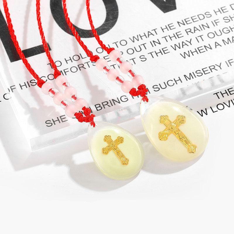 ﹍> [Hot ลดราคา] Luminous Cross พระเยซูคริสต์จี้คริสตัลโอนสร้อยคอลูกปัดฝังด้วยฟอยล์สีทอง Pendant Jewelry Clavicle Chain