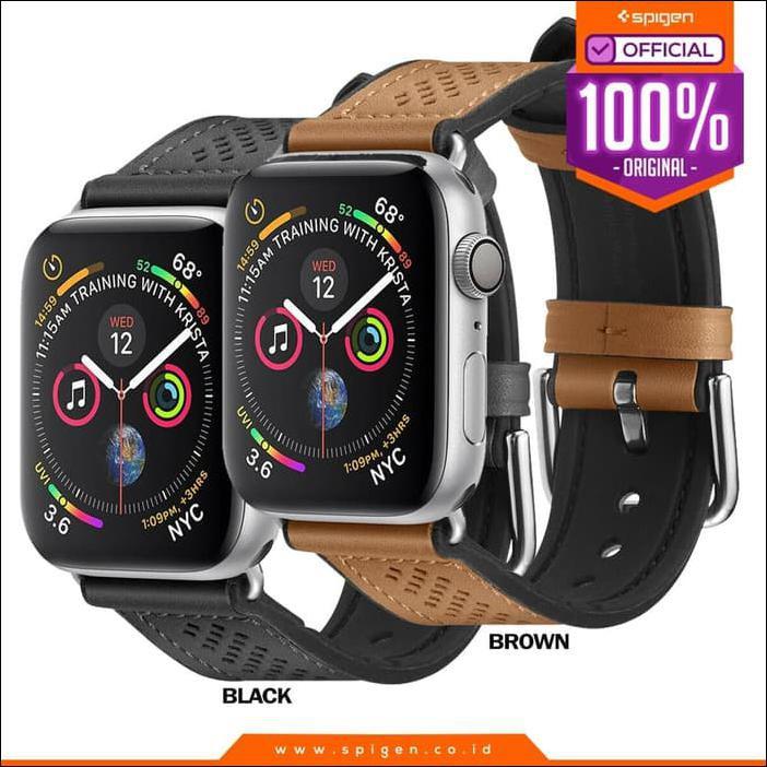 สายนาฬิกาข้อมือหนัง Apple Watch Series 5 4 3 2 1 Spigen Band Retro Fit - สีน้ําตาล, 44มม. 42มม. ~ คุณภาพสูง