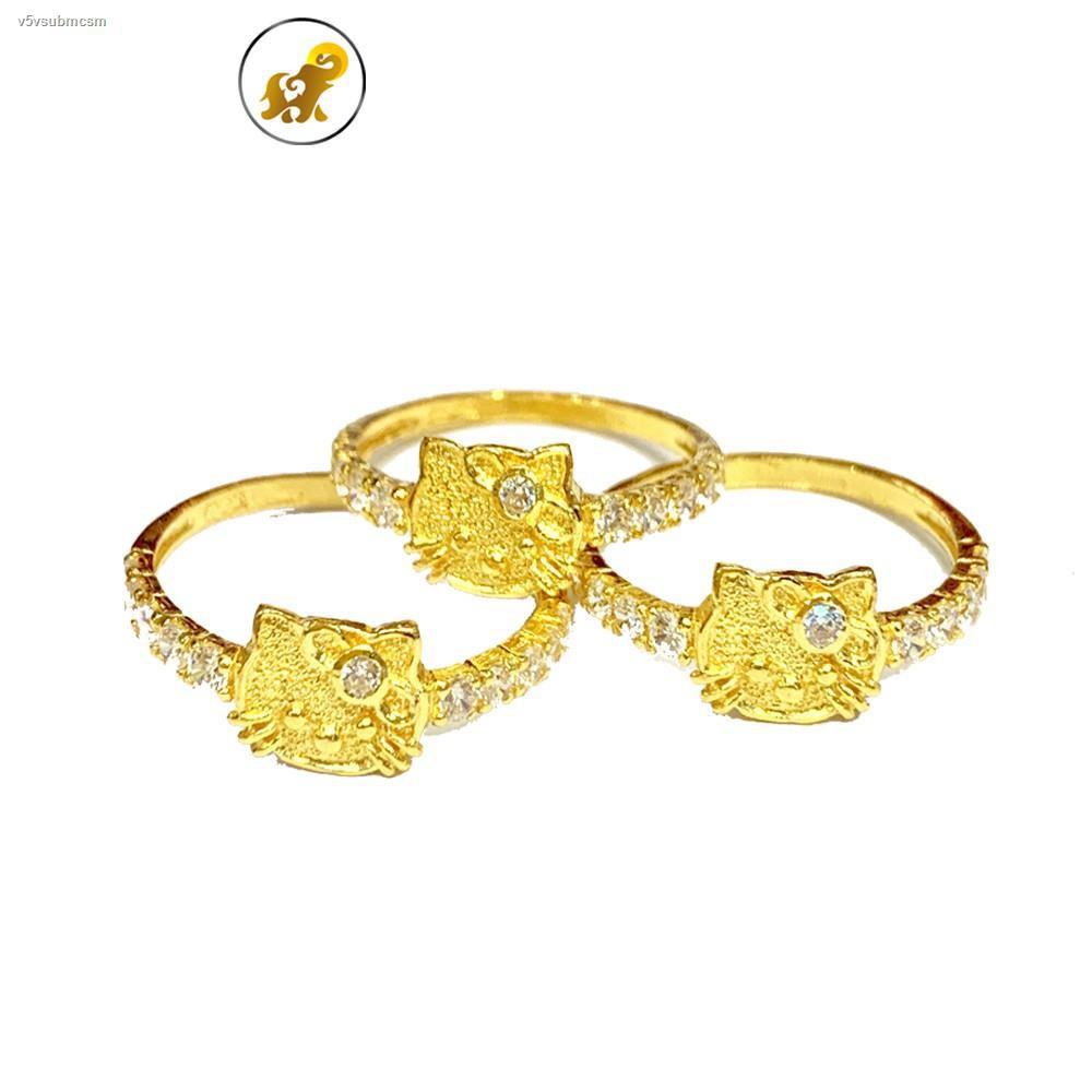 ราคาต่ำสุด✹PGOLD แหวนทองครึ่งสลึง เพชรสวิสแมวแฟนซี หนัก 1.9 กรัม ทองแท้96.5% มีใบรับประกัน