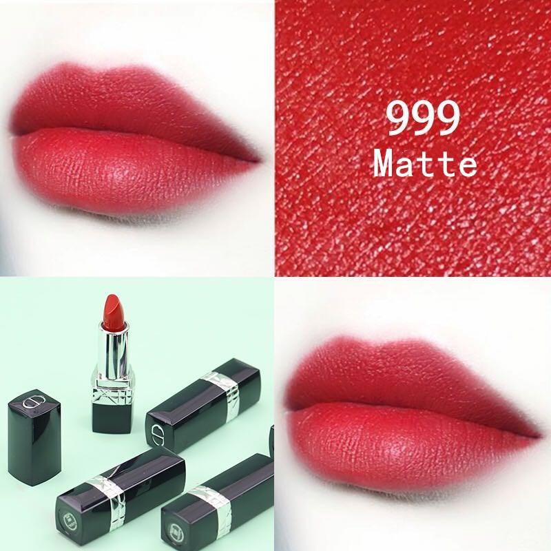 DIOR Lipstick Intense Blue Gold ลิปสติก 999 Matte and ลิปสติก 999 Dior ขนาดตัวอย่าง ลิปสติก Lacquer 1.5G ลิปบาล์มลิปสติก