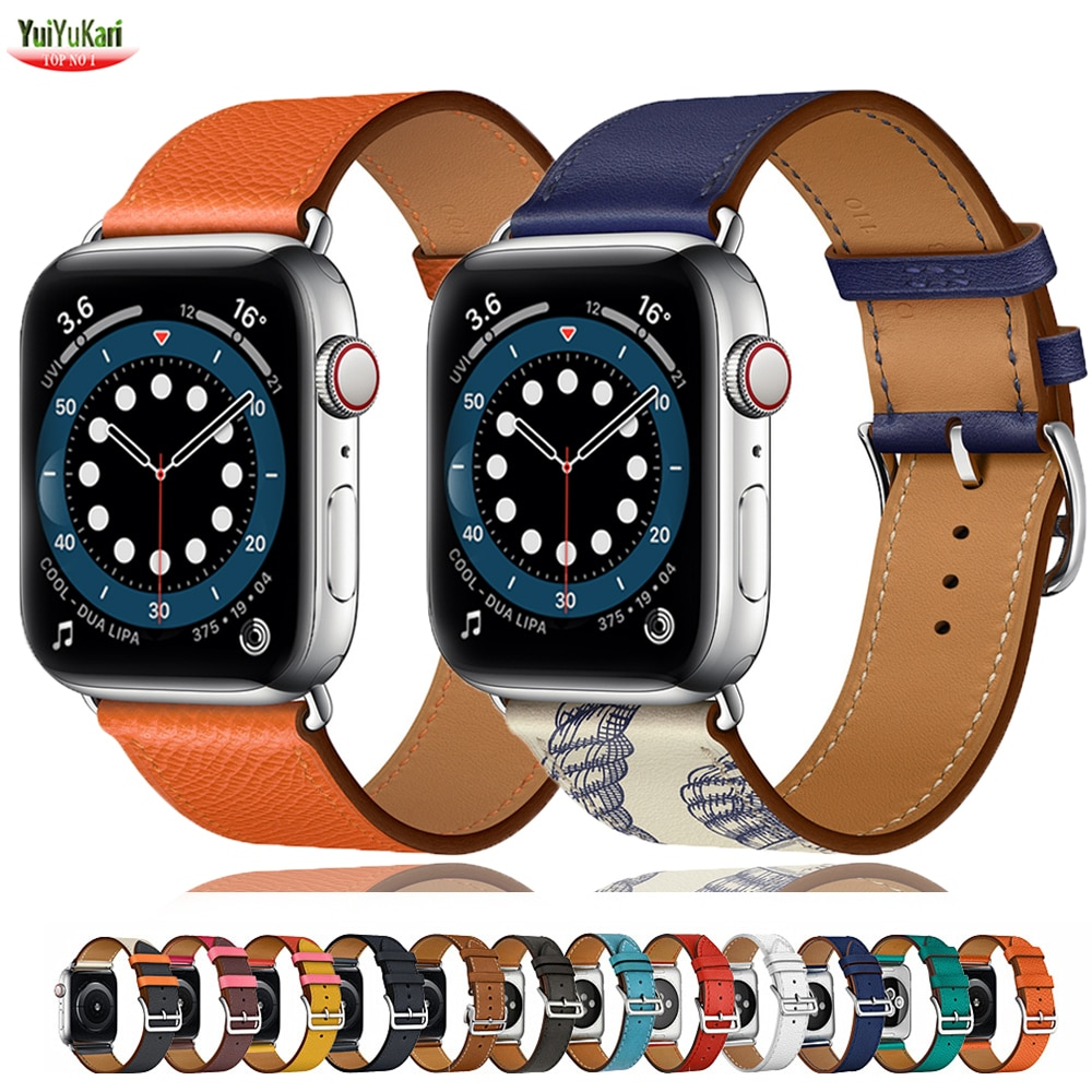 Leather strap for Apple watch 5 band 44mm 40mm iWatch 38mm 42mm Genuine bracelet Single tour for Apple watch series 6 5