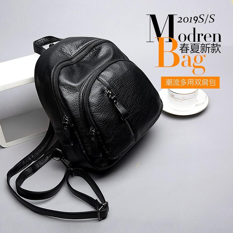☈♟✠กระเป๋าเป้หนังนิ่มสบาย ๆ กระเป๋าใบเล็กกระเป๋าหญิง 2021 ใหม่กระเป๋าเป้อเนกประสงค์เกาหลีรุ่นกระเป๋าเป้เดินทางป่าขนาดเล