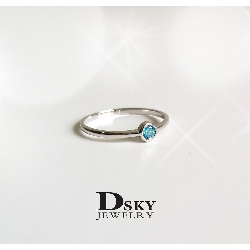 แหวนเงินแท้925 แหวนแฟชั่น แหวนราคาถูก แหวนวันเกิดมินิฝังอะความารีน สไตล์มินิมอล ชุบทองคำขาว ไม่ลอก ไม่ดำ