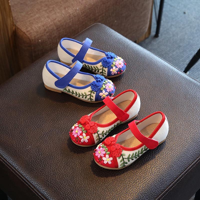 รองเท้าคัชชู ปักลายดอกไม้ แต่งสายคาด หรูหรา แฟชั่นสำหรับเด็กผู้หญิง