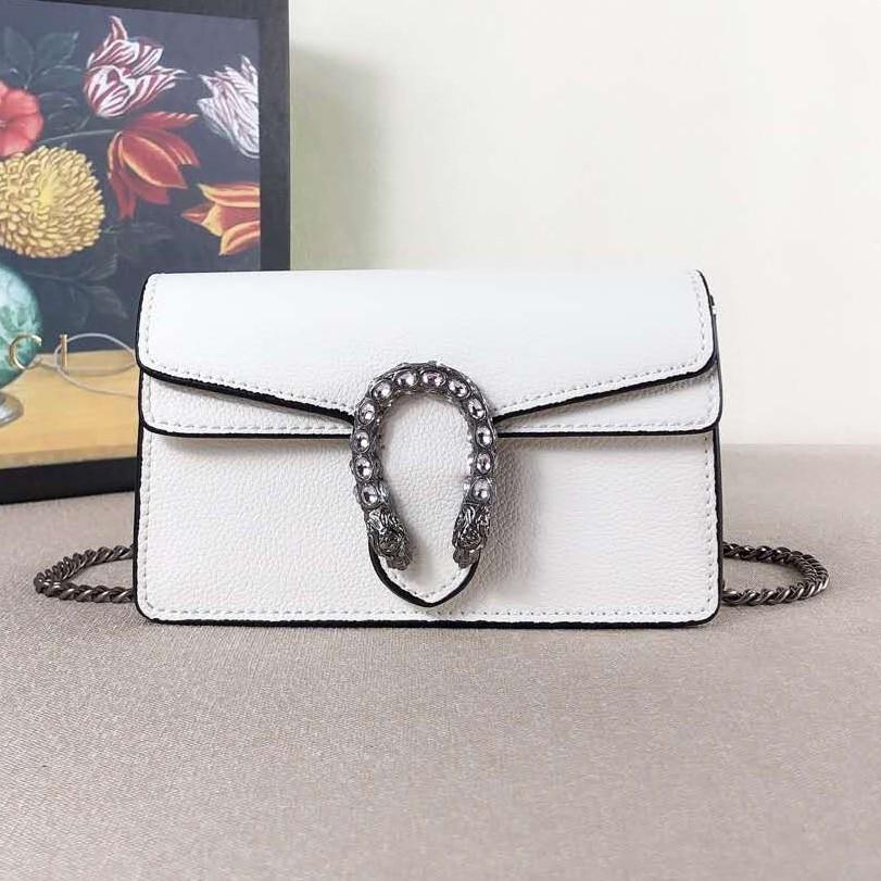 GUCCI Gucci Dionysus กระเป๋าถือ Dionysus หัวงูหนังโซ่กระเป๋าสะพายกระเป๋า Messenger กระเป๋าหรูหรามินิสีขาว