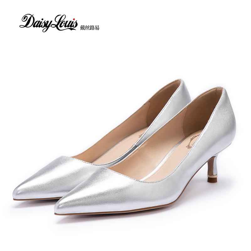 รองเท้าคัชชูหัวแหลม 5CMรองเท้าแมวสีเงินผู้หญิง20ต้นฤดูใบไม้ร่วงใหม่รองเท้าส้นสูงกริชหนังแกะเบาะสบายต่ำช่วยชี้รองเท้าเดีย