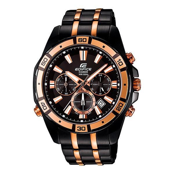 Casio Edifice นาฬิกาข้อมือผู้ชาย สีดำ/ทอง สายสแตนเลส รุ่น EFR-534BKG-1A