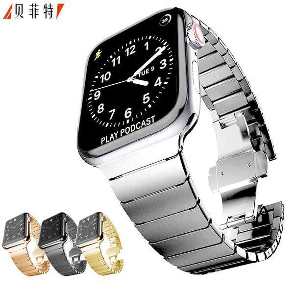 สาย applewatch เหมาะสำหรับ Apple Watch สายธุรกิจ applewatch สายโซ่ธรรมดา 56 รุ่นโซ่โลหะสแตนเลส iwatch สาย SE 2/3/4/5 รุ่
