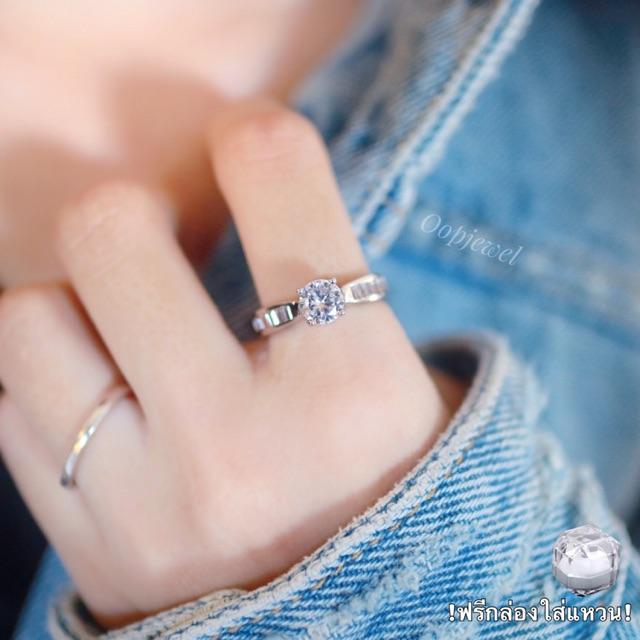 มีโค้ดลดราคา แหวนเพชรสวิส cz Cubic Zirconia ring ชุบทองคำขาว พร้อมกล่องแหวน แบรนด์ Oopjewel