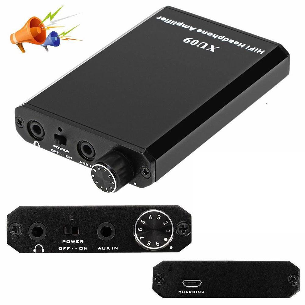 XU09 MP3 Mini HIFI Black Headphone Amplifier Home Rechargeable Music  Improver Powerful Metal Stereo Audio Portable