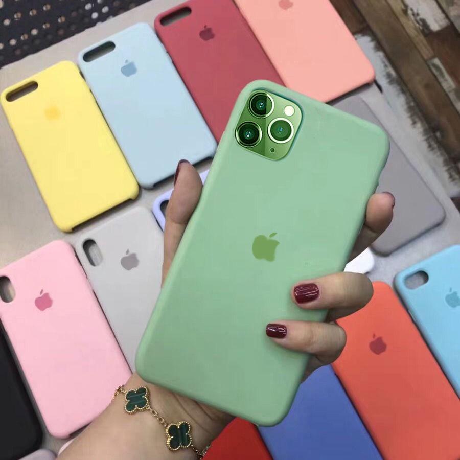 เคสโทรศัพท์ซิลิโคน สีพื้น สําหรับ Iphone 11 Max Pro 7 8 Apple 7 P Plus Xsmax Xr Xs 6s I 5 5se