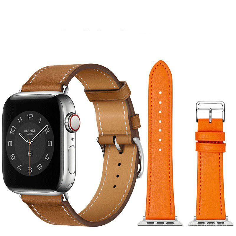 สายนาฬิกา watch สาย applewatch แท้ สายแอปเปิ้ลวอช  สายนาฬิกาที่เหมาะสม Hermes หนังแท้สำหรับ AppleApplewatch6สายหนังiwatc