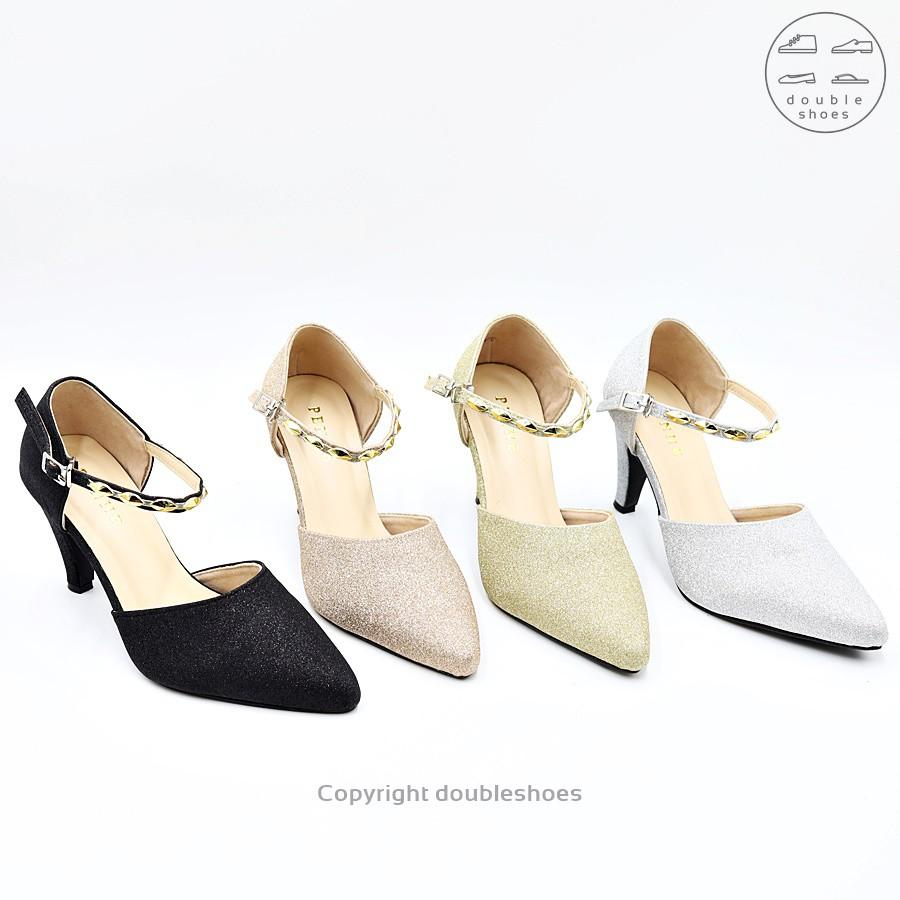 รองเท้าคัชชูรัดส้น รองเท้าออกงาน รองเท้าส้นสูง 2 นิ้ว PENNE รุ่น JM297 (สีเงิน/ ทอง/ นาค/ ดำ) ไซส์ 35-40