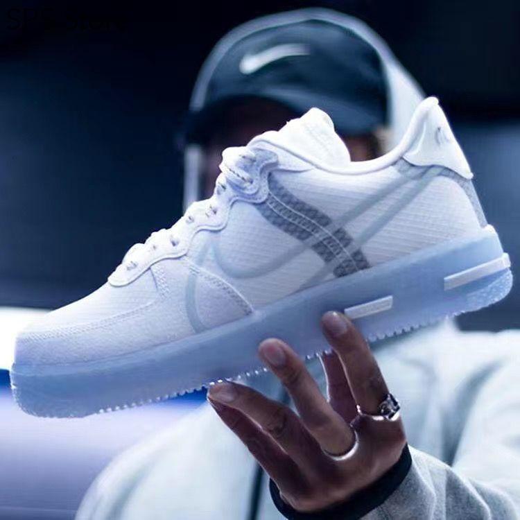 Nike_New AF1 Bone White Ice Blue 3M รองเท้าผ้าใบสะท้อนแสง Air Force One รองเท้ากีฬาคู่ป่า
