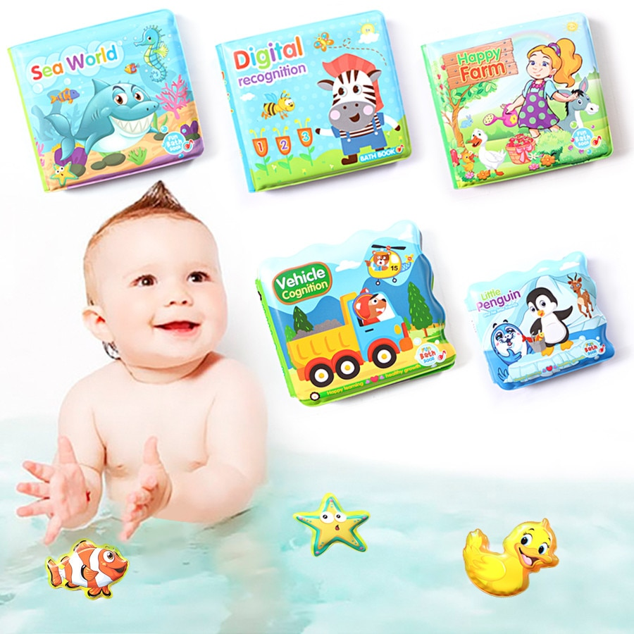 Baby Bath Books Waterroof Bathroom Books Water Bathroom Toys Early Learning Educational Toys Gift Bath Books For Baby Ki