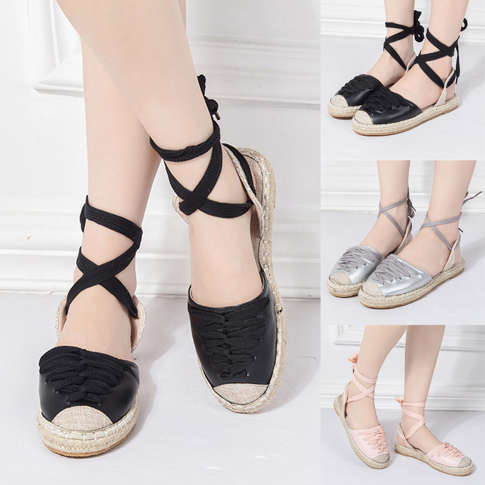 19e68b68be Womens Flat Lace-Up Espadrilles Summer Chunky Holiday Sandals Shoes Strap  Shoes