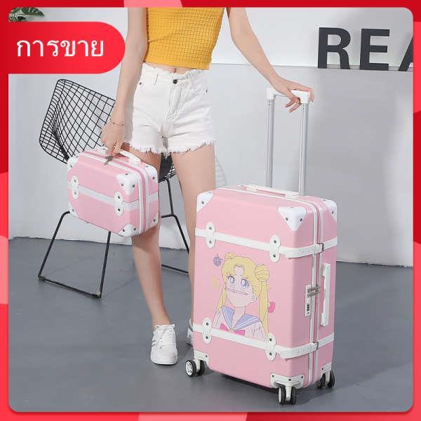 กระเป๋าเดินทางสุทธิสีแดงหญิงรถเข็น 24 นิ้วการ์ตูนน่ารักนักเรียนเกาหลีย้อนยุคกราฟฟิตีกระเป๋าเดินทางแม่และเด็ก