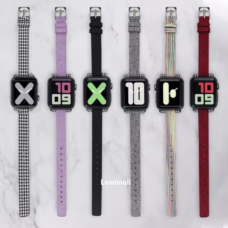 สายนาฬิกา สาย สำหรับ AppleWatch series 1/2/3/4/5/6 SE  38/40/42/44mm สาย W55 /W56 X6 pro Max  p90 watch 5 สายหนัง+ผ้า
