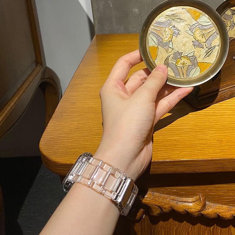 สายนาฬิกาข้อมือเรซิ่นสีใสสําหรับ Applewatch Iwatch6Se5/4/3/2