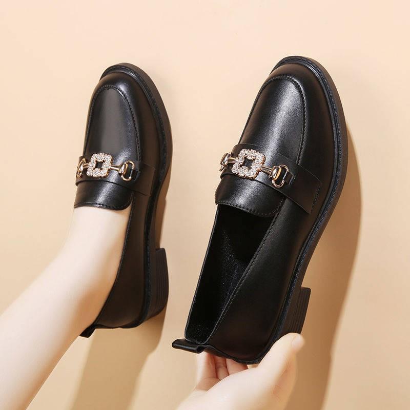 รองเท้าผู้หญิง รองเท้าคัชชู ✣รองเท้าหนังขนาดเล็กหญิง 2021 ฤดูใบไม้ผลิและฤดูใบไม้ร่วงอังกฤษลมย้อนยุครองเท้าแบนสีดำรองเท้า