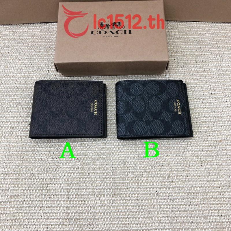 COACH แท้ กระเป๋าสตางค์ใบสั้น F74586 หนัง PVC กระเป๋าสตางค์ กระเป๋าสตางค์ผู้ชาย
